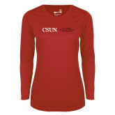 Ladies Syntrel Performance Red Longsleeve Shirt-Institutional Logo Flat