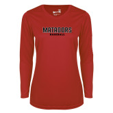 Ladies Syntrel Performance Red Longsleeve Shirt-Matadors Baseball