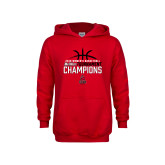 Youth Red Fleece Hoodie-2018 Womens Basketball Champions - Stacked w/ Basketball