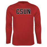 Performance Red Longsleeve Shirt-CSUN