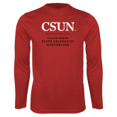 Performance Red Longsleeve Shirt-Institutional Logo Stacked