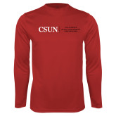 Performance Red Longsleeve Shirt-Institutional Logo Flat