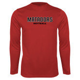 Performance Red Longsleeve Shirt-Matadors Softball