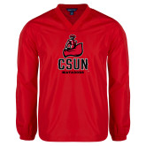 V Neck Red Raglan Windshirt-CSUN Matador