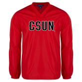 V Neck Red Raglan Windshirt-CSUN