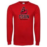 Red Long Sleeve T Shirt-CSUN Matador Distressed