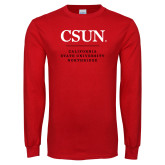 Red Long Sleeve T Shirt-Institutional Logo Stacked
