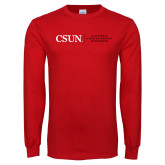 Red Long Sleeve T Shirt-Institutional Logo Flat