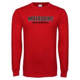 Red Long Sleeve T Shirt-Matadors Volleyball