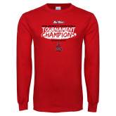 Red Long Sleeve T Shirt-2018 Womens Basketball Champions - Brush