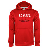 Under Armour Red Performance Sweats Team Hoodie-Institutional Logo Stacked
