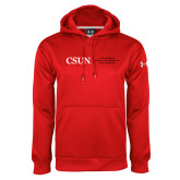 Under Armour Red Performance Sweats Team Hoodie-Institutional Logo Flat