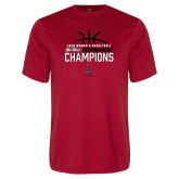 Performance Red Tee-2018 Womens Basketball Champions - Stacked w/ Basketball