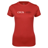 Ladies Syntrel Performance Red Tee-Institutional Logo Flat