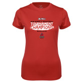 Ladies Syntrel Performance Red Tee-2018 Womens Basketball Champions - Brush