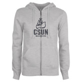 ENZA Ladies Grey Fleece Full Zip Hoodie-CSUN Matador Graphite Glitter