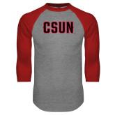 Grey/Red Raglan Baseball T Shirt-CSUN
