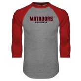 Grey/Red Raglan Baseball T Shirt-Matadors Baseball