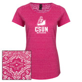 Ladies Dark Fuchsia Heather Lace Tee-CSUN Matador