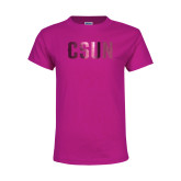 Youth Cyber Pink T Shirt-CSUN Foil