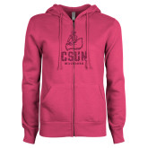 ENZA Ladies Fuchsia Fleece Full Zip Hoodie-CSUN Matador Hot Pink Glitter