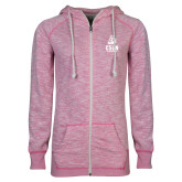 ENZA Ladies Hot Pink Marled Full Zip Hoodie-CSUN Matador