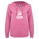 ENZA Ladies Hot Pink V Notch Raw Edge Fleece Hoodie-CSUN Matador