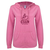ENZA Ladies Hot Pink V Notch Raw Edge Fleece Hoodie-CSUN Matador Hot Pink Glitter