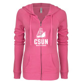 ENZA Ladies Hot Pink Light Weight Fleece Full Zip Hoodie-CSUN Matador