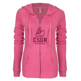 ENZA Ladies Hot Pink Light Weight Fleece Full Zip Hoodie-CSUN Matador Hot Pink Glitter