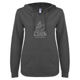 ENZA Ladies Dark Heather V Notch Raw Edge Fleece Hoodie-CSUN Matador Silver Soft Glitter