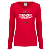 Ladies Red Long Sleeve V Neck Tee-2018 Womens Basketball Champions - Brush