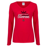 Ladies Red Long Sleeve V Neck Tee-2018 Womens Basketball Champions - Stacked w/ Basketball