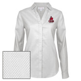 Ladies Red House Diamond Dobby White Long Sleeve Shirt-CSUN Matador