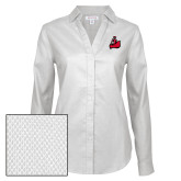Ladies Red House Diamond Dobby White Long Sleeve Shirt-Matador