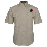 Khaki Short Sleeve Performance Fishing Shirt-Matador