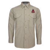 Khaki Long Sleeve Performance Fishing Shirt-CSUN Matador