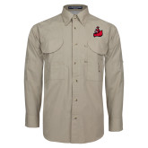 Khaki Long Sleeve Performance Fishing Shirt-Matador
