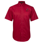 Red Twill Button Down Short Sleeve-Matador