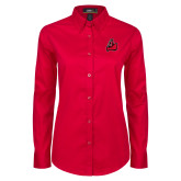 Ladies Red Twill Button Down Long Sleeve-Matador