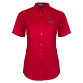 Ladies Red Twill Button Up Short Sleeve-CSUN Matador
