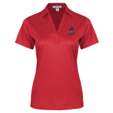 Ladies Red Performance Fine Jacquard Polo-CSUN Matador