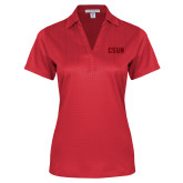 Ladies Red Performance Fine Jacquard Polo-CSUN