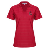 Ladies Red Horizontal Textured Polo-CSUN Matador