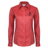 Ladies Red House Red Long Sleeve Shirt-CSUN Matador
