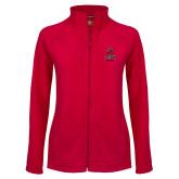 Ladies Fleece Full Zip Red Jacket-CSUN Matador