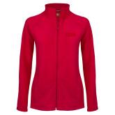 Ladies Fleece Full Zip Red Jacket-CSUN