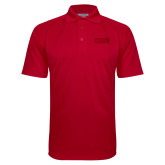Red Textured Saddle Shoulder Polo-CSUN