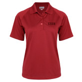 Ladies Red Textured Saddle Shoulder Polo-CSUN