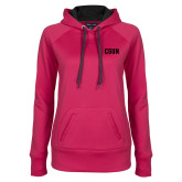 Ladies Pink Raspberry Tech Fleece Hoodie-CSUN